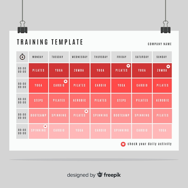 gym or fitness schedule template vector free download