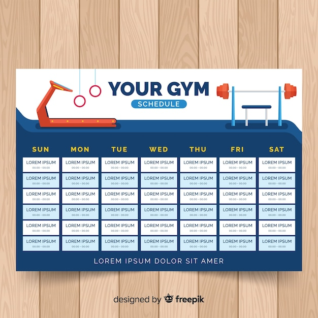 gym or fitness schedule template free vector
