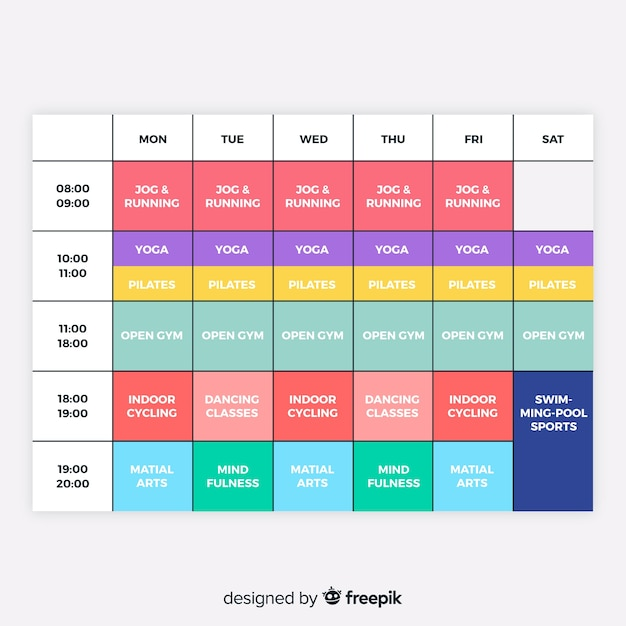 gym or workout schedule template vector free download