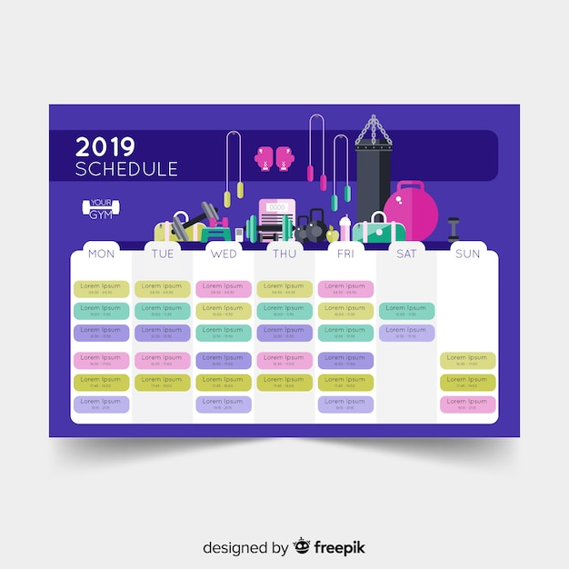 gym or workout schedule template free vector