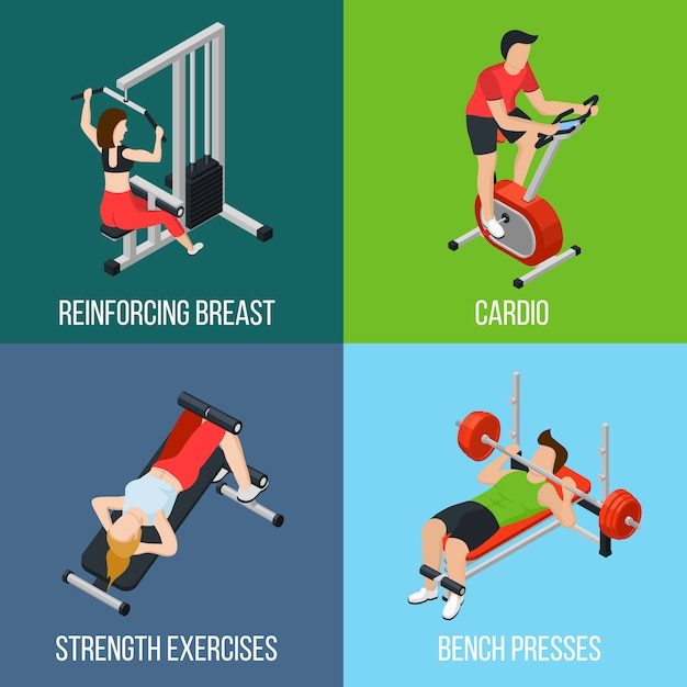 Gym people isolated icon set Free Vector