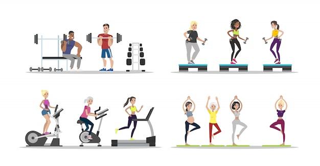 ジムの人々を設定します。運動をしている男性と女性。 Premiumベクター