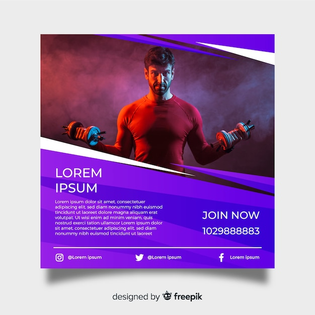 Gym poster template with photo Vector | Free Download