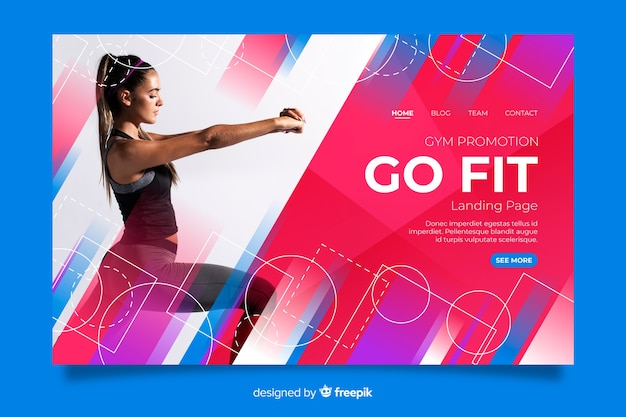 Gym promotion landing page with image Free Vector