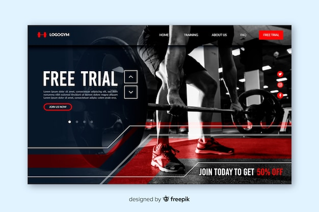 Gym promotion landing page with photo Free Vector