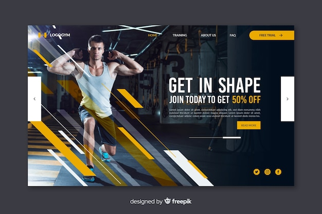 Gym promotion landing page with picture Free Vector