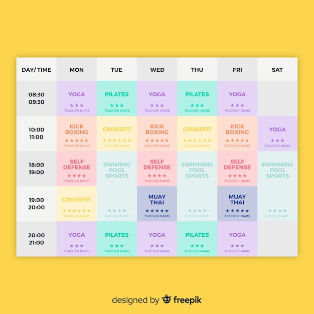 Gym schedule template Free Vector