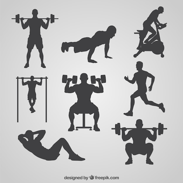 Gym silhouettes collection vector free download