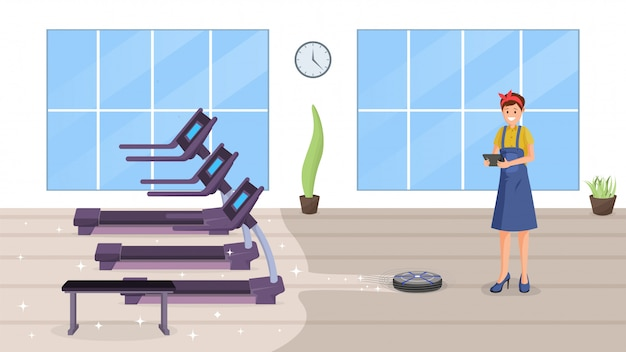 Gym smart cleaning flat Premium Vector