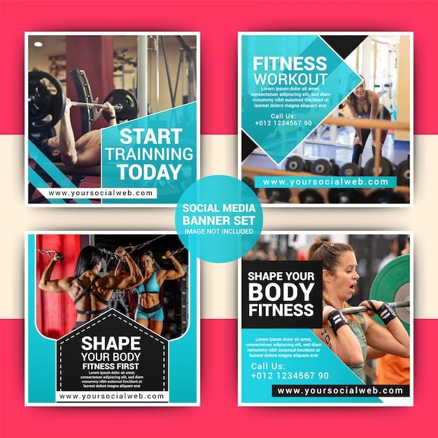 Gym social media marketing post template Premium Vector