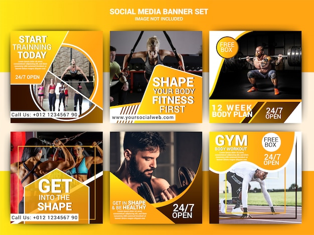 Gym social media marketing template Premium Vector
