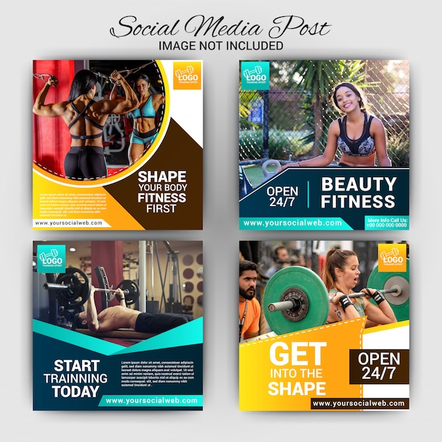 Gym social media post template design Premium Vector