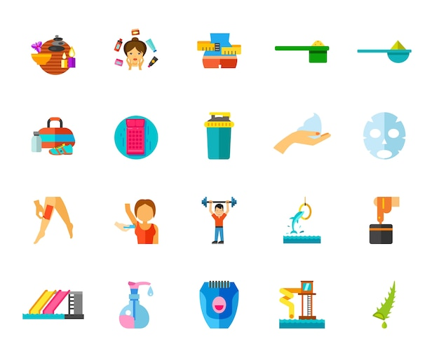 Gym and spa icon set Free Vector