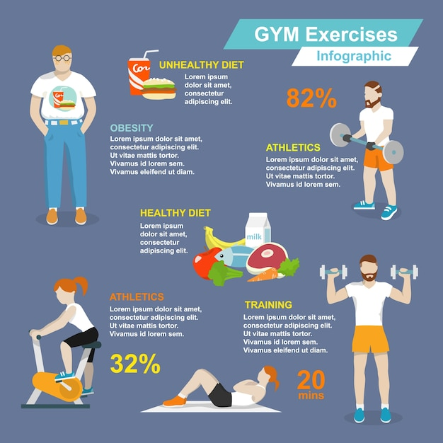 Gym sport exercises fitness and healthy lifestyle infographic set vector illustration Free Vector
