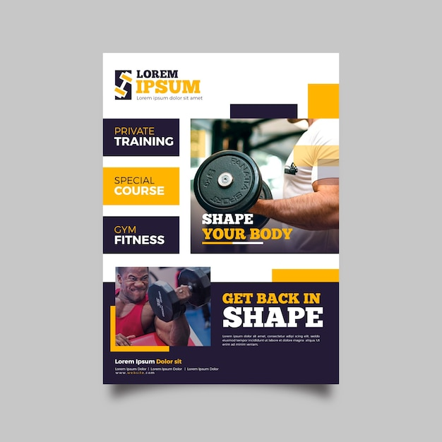Gym sport flyer template Free Vector