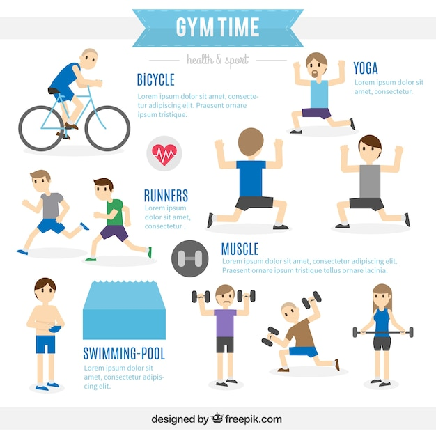 Gym time infographic Free Vector