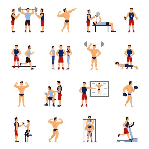 Gym trainer set Free Vector