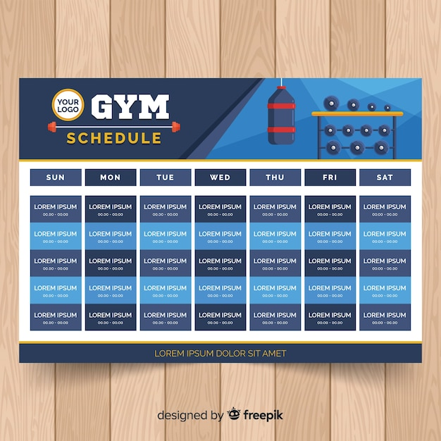 Gym training schedule template Free Vector