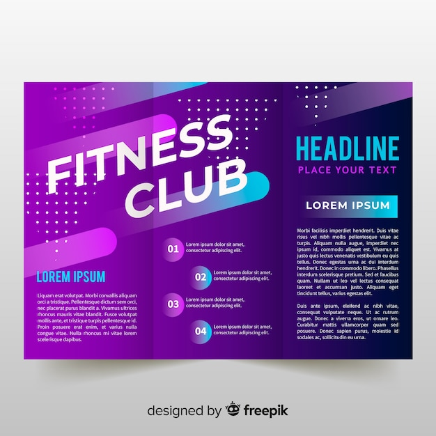 Gym trifold brochure template Free Vector