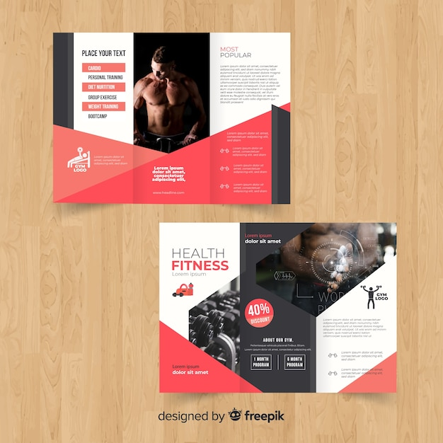 Gym trifold brochure Free Vector