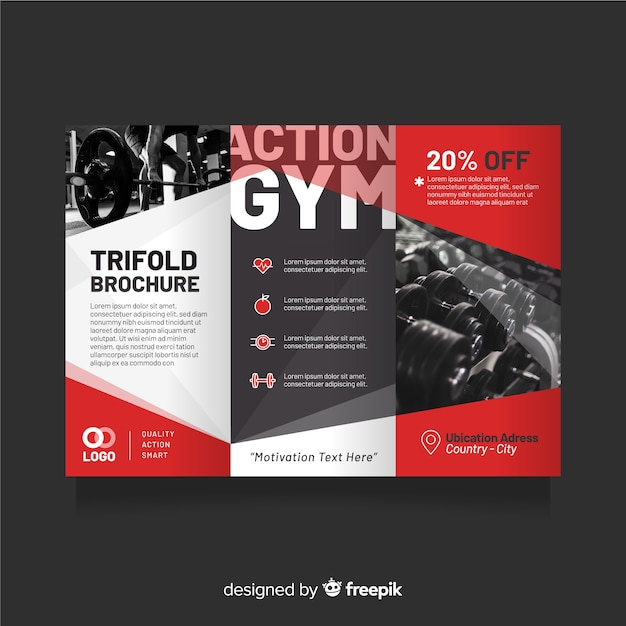 Gym trifold flyer template Free Vector
