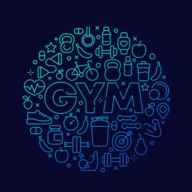 Gym vector round design with line fitness icons Premium Vector