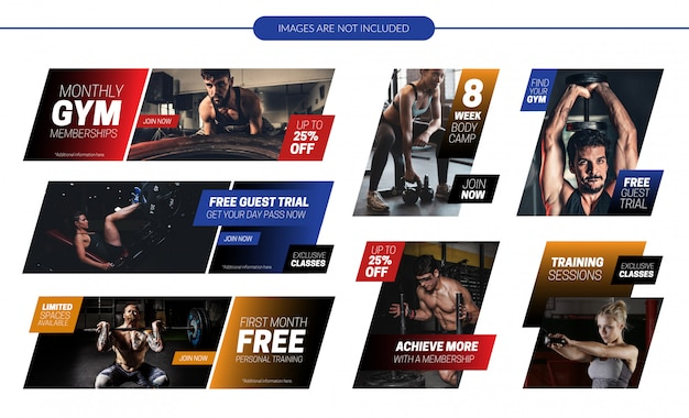 Gym website promotional banners set Premium Vector