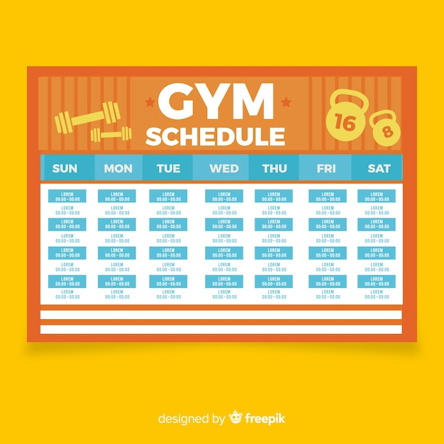 work out schedule templates