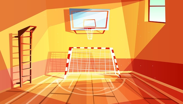 Gymnasium illustration of college or school gym and sport hall interior. Free Vector