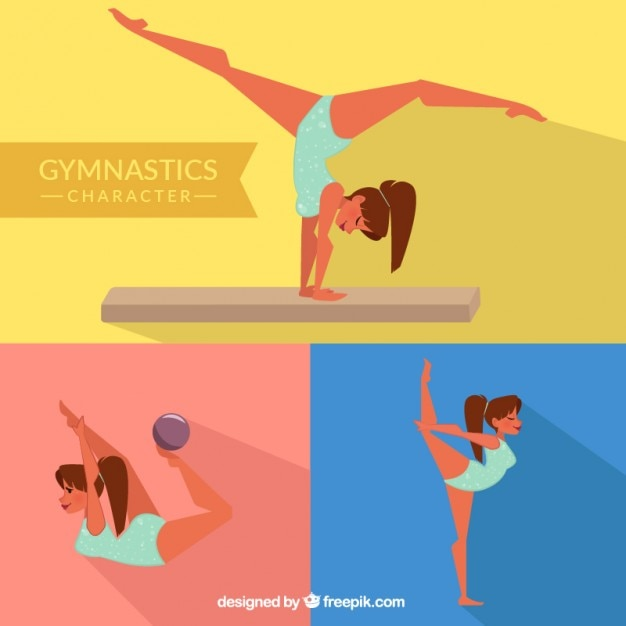 Gymnast girl in different poses Free Vector