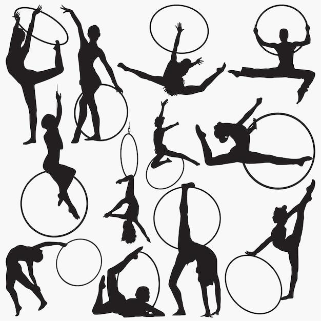 Gymnastic rhythmic hoop silhouettes Premium Vector