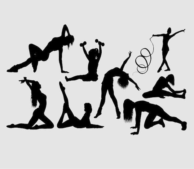 Gymnastic sport activity silhouette Premium Vector