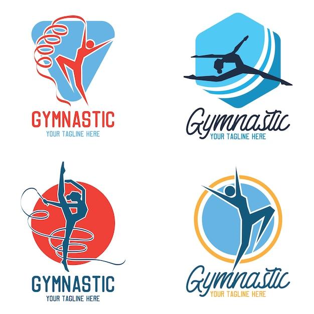 Gymnastic sport logo Premium Vector