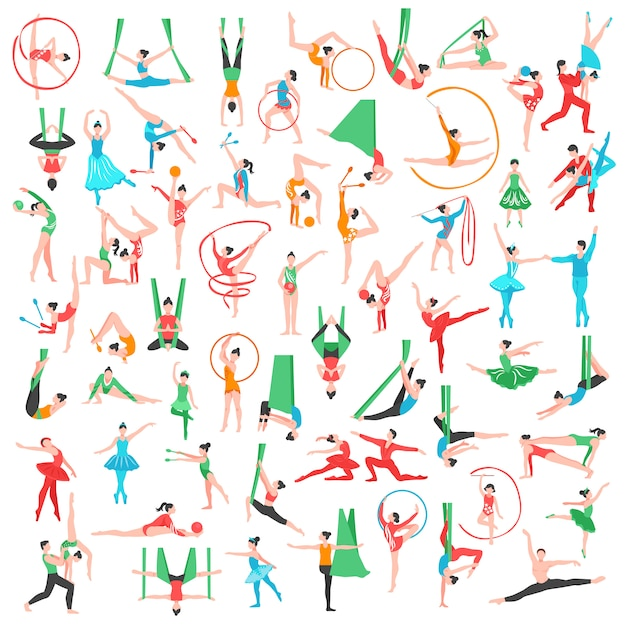 Gymnastics and ballet big set Free Vector