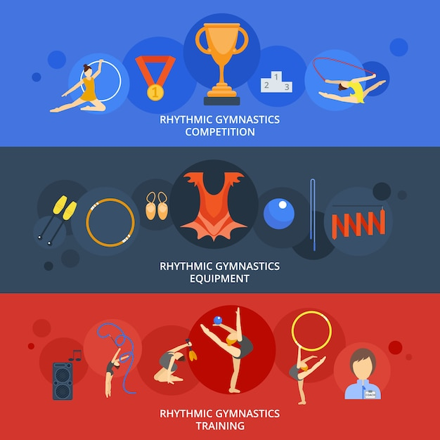 Gymnastics banner set Free Vector
