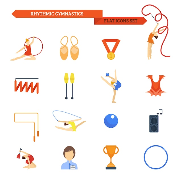Gymnastics icon flat Free Vector