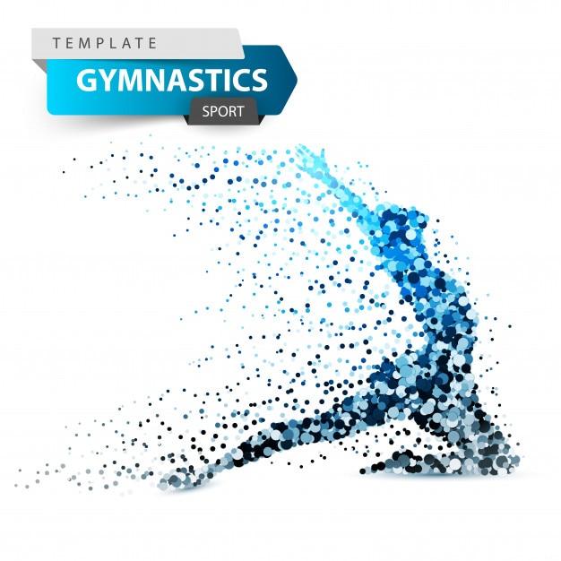 Gymnastics, sport - dot illustration on the white background. Premium Vector