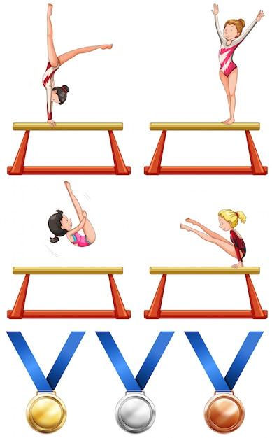 Gymnastics and woman athletes illustration Free Vector