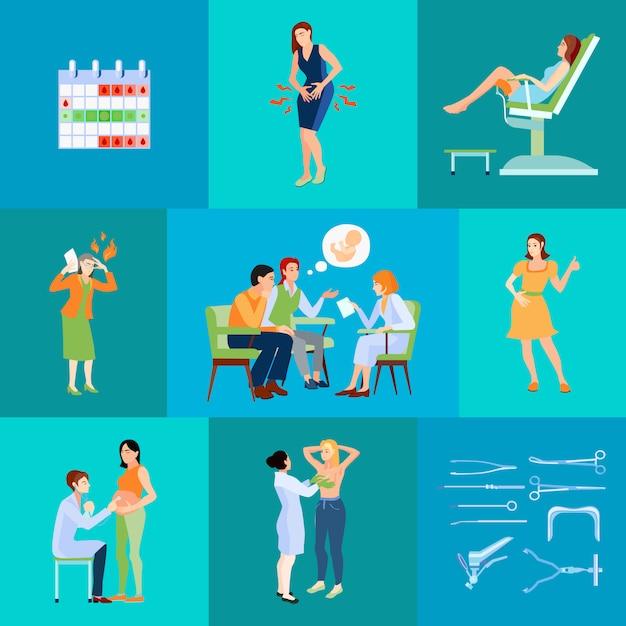 計画カレンダーと夫と医師の予定と婦人科医フラット構成 無料ベクター