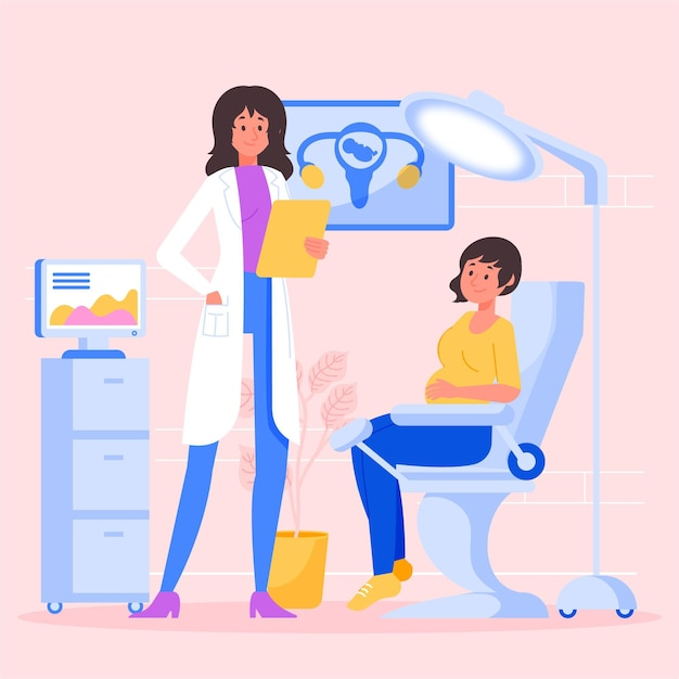 Gynecology consultation illustrated design Free Vector