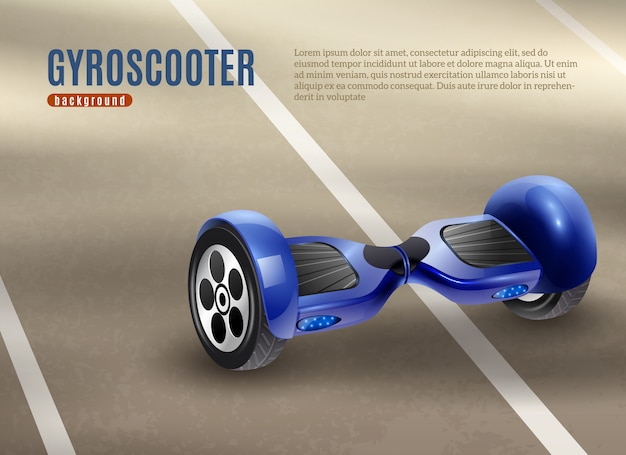 Gyro scooter segway road background poster Free Vector