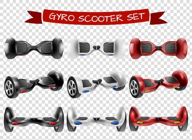 Gyro scooter view set transparent background Free Vector