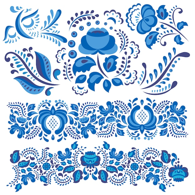 Gzhel floral motif in traditional russian style and ornate flowers and leaves in blue Premium Vector
