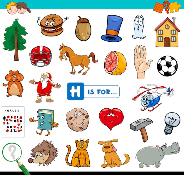 H is for educational game for children Premium Vector