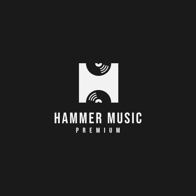 Буква h музыкальный логотип Premium векторы