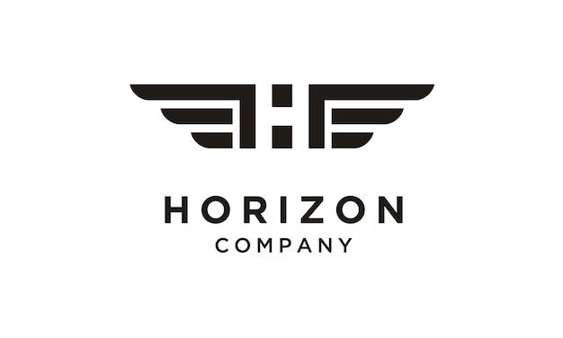 ウイングロゴデザインのイニシャル/モノグラムh Premiumベクター