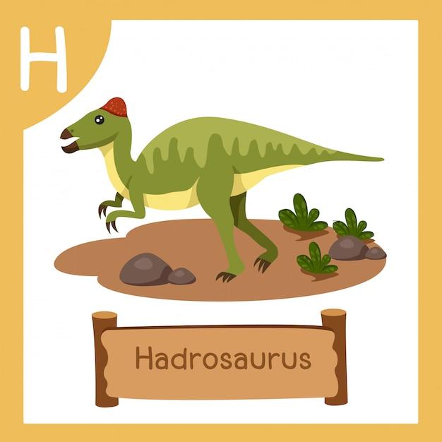 恐竜ハドロサウルスのhのイラストレーター Premiumベクター