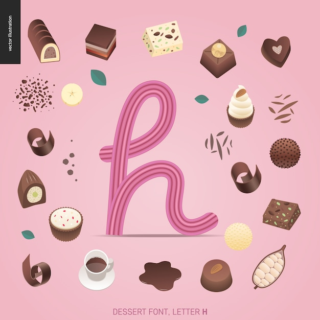 デザートフォント - 文字h  - 誘惑フォント、甘いレタリングの現代平らなベクトル概念デジタルイラスト。キャラメル、タフィー、ビスケット、ワッフル、クッキー、クリーム、チョコレートの手紙 Premiumベクター