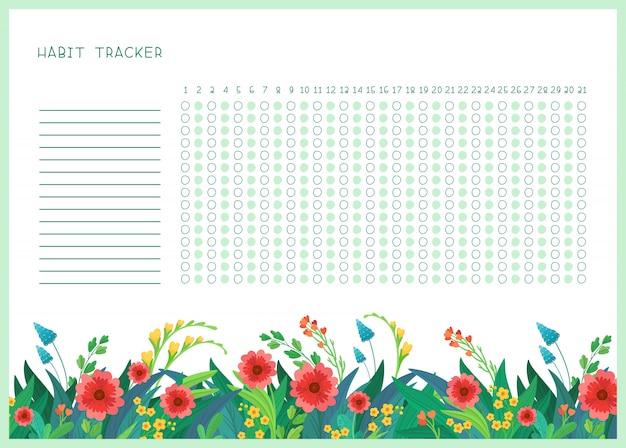 달 평면 템플릿 습관 추적기입니다. 봄 야생 꽃 테마 빈, 개인 주최자 장식 프레임. 양식에 일치시키는 글자와 여름 시즌 꽃 테두리 프리미엄 벡터
