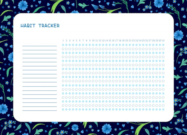 Habit tracker for month flat  template. spring blue wild flowers themed blank, personal organizer with decorative frame. Free Vector
